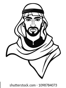 Animation portrait of the Arab man in a traditional headdress. Monochrome drawing. The vector illustration isolated on a white background.