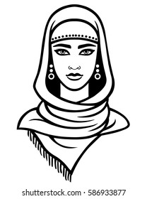 Animation portrait of the Arab woman in a scarf. Linear monochrome drawing isolated on a white background. Vector illustration.
