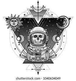 Animation portrait of the astronaut skeleton  in a space suit. Background - the star sky, symbols of the moon and sun. Sacred geometry. Vector illustration isolated.  Print, poster, t-shirt, card.