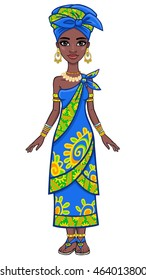 Animation portrait of the attractive African girl. Full growth.  The vector illustration isolated on a white background.