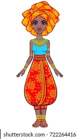 Animation portrait of the attractive African girl in a turban. Bright ethnic clothes. Full growth. The vector illustration isolated on a white background.