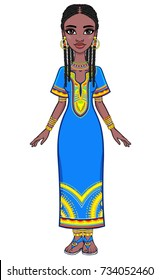 Animation portrait of the attractive African girl. Bright ethnic clothes. Full growth. The vector illustration isolated on a white background.