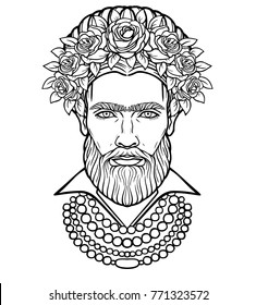 Animation portrait of the bearded man  in beads and a wreath of roses. Mix men's and feminine. Vector illustration isolated on a white background.