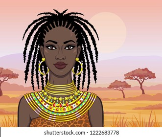 Animation portrait of the beautiful African girl in ancient clothes. Savanna princess. Background - a desert landscape. Vector illustration.