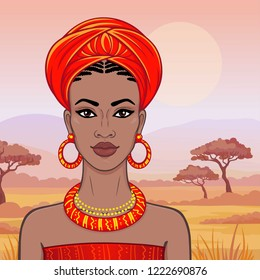 Animation portrait of the beautiful African woman  in a turban. Savanna princess, Amazon, nomad. Background - a landscape the desert.  Vector illustration.