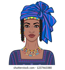 Animation portrait of the beautiful African woman in ancient clothes and turban. Color drawing. Vector illustration isolated on a white background. Print, poster, t-shirt, card.
