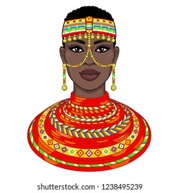 Animation portrait of the beautiful African woman in ancient clothes and jewelry. Color drawing. Vector illustration isolated on a white background. Print, poster, t-shirt, card.