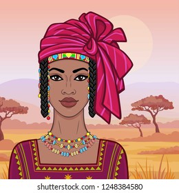 Animation portrait of the beautiful African woman in a turban and ancient clothes. Background - a landscape savanna, sunset, mountains.Vector illustration.