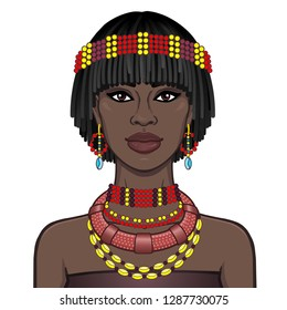 Animation portrait of the beautiful African woman in ancient jewelry. Color drawing. Vector illustration isolated on a white background. Print, poster, t-shirt, card.