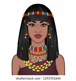Animation portrait of the beautiful African woman in ancient jewelry and Afro-hair. Color drawing. Vector illustration isolated on a white background. Print, poster, t-shirt, card.