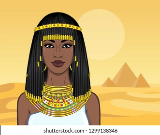 Animation portrait of the beautiful African woman in ancient jewelry and Afro-hair. Princess, pagan goddess, Pharaoh. Color drawing. Background - a landscape the desert, pyramids.Vector illustration.