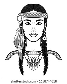 Animation portrait of a beautiful American Indian woman in ancient head dress. Linear monochrome drawing. Vector illustration isolated on a white background. Print, poster, T-shirt, postcard.