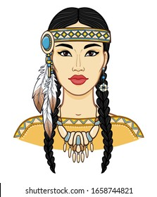 Animation portrait of a beautiful American Indian woman in ancient head dress. Color drawing. Vector illustration isolated on a white background. Print, poster, T-shirt, postcard.