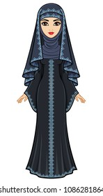 Animation portrait of the beautiful Arab woman in an ancient suit: long dress, veil, hijab. Full growth. Vector illustration isolated on a white background.
