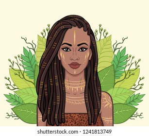 Animation portrait of the beautiful black woman, wreath of tropical leaves. Amazon, warrior, princess. Color drawing. Vector illustration isolated on a beige background. Print, poster, t-shirt, card.
