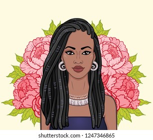 Animation portrait of the beautiful black woman, wreath of flowers.  Color drawing. Vector illustration isolated on a beige background. Print, poster, t-shirt, card.