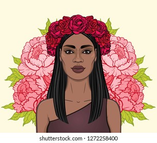 Animation portrait of the beautiful black woman in a wreath of red roses.  Amazon, pagan goddess, princess. Color drawing. Vector illustration isolated on a beige background. Print, poster, t-shirt.