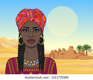 Animation portrait of the beautiful  black woman in a red turban and Afro braids. Color drawing. Background - a landscape the desert, ancient city. Vector illustration.