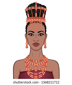 Animation portrait of the beautiful  black woman in a traditional ethnic jewelry. Princess, Bride, Goddess. Color drawing. Vector illustration isolated on a white background.Template for use.