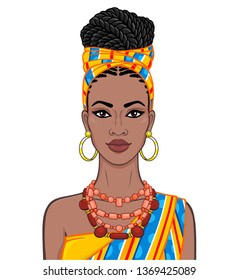 Animation portrait of the beautiful  black woman in a orange turban and ethnic jewelry. Color drawing. Vector illustration isolated on a white background.Template for use.