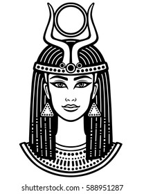 Animation portrait of the beautiful Egyptian woman. Horned goddess Isis. Black the white vector illustration isolated on a white background. Print, poster, t-shirt, tattoo.