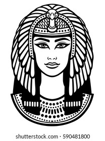 Animation portrait of the beautiful Egyptian woman. Black the white vector illustration isolated on a white background. Print, poster, t-shirt, tattoo.