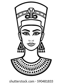 2c0e54fda Animation portrait of the beautiful Egyptian woman. Black the white vector  illustration isolated on a