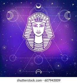 Animation portrait of the beautiful Egyptian woman. Background - the night stellar sky. Mystical symbols. Sacred geometry. Vector illustration.