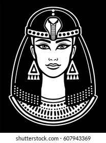 Animation portrait of the beautiful Egyptian woman. The white image isolated on a black background. Vector illustration.  Print, poster, t-shirt, tattoo.