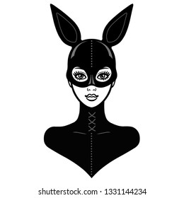 Animation portrait of the beautiful girl in a black latex suit and mask rabbit. Template for erotic content. Vector illustration isolated on a white background. Print, poster, t-shirt, card, emblem.
