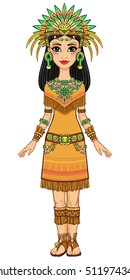Animation portrait of the beautiful girl in a dress of the Native American Indian. Full growth. Vector illustration isolated on a white background.