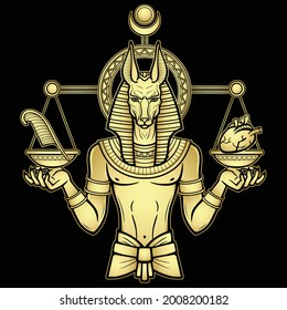 Animation portrait: Egyptian God Anubis measures the human heart and pen on sacred scales. God of death.Gold imitation.  Vector illustration isolated on a black background. Print, poster, t-shirt