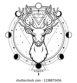 Animation portrait of a horned deer - spirit of the wood. Pagan deity. Circle of sacred geometry, phase of the moon. Black vector illustration isolated on a white background. Print, potser, t-shirt.