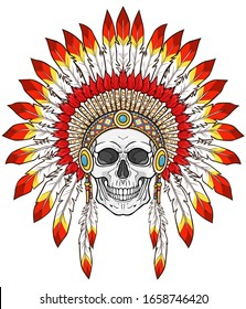 Animation portrait: human skull  in ancient American Indian head dress. Color drawing. Vector illustration isolated on a white background. Print, poster, T-shirt, postcard.