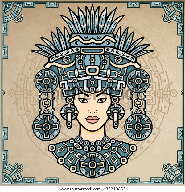 Retrato de animación de la diosa pagana basado en motivos del arte nativo americano indio.  Dibujo decorativo en color. Ilustración vectorial. Fondo - marco decorativo, círculo mágico.