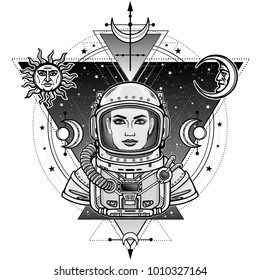 Animation portrait of the woman astronaut in a space suit.Background - the star sky, sacred geometry, symbols of the moon and the sun.Vector illustration isolated. Print, poster, t-shirt, card.
