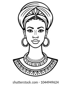 Animation portrait of the young African woman in a turban. Monochrome linear drawing. Vector illustration isolated on a white background. Print, poster, t-shirt, card.