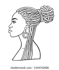 Animation portrait of the young African woman. Profile view. Monochrome linear drawing. Vector illustration isolated on a white background. Print, poster, t-shirt, card.