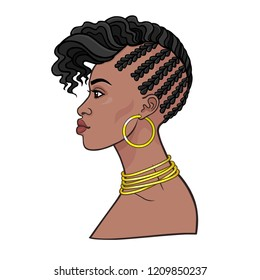 Animation portrait of the young African woman. Profile view. Color drawing. Vector illustration isolated on a white background. Print, poster, t-shirt, card.