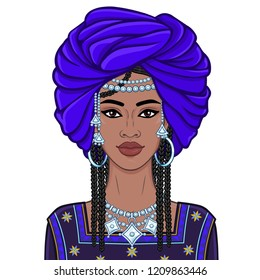 Animation portrait of the young African woman in a turban and ancient clothes.  Color drawing. Vector illustration isolated on a white background. Print, poster, t-shirt, card.
