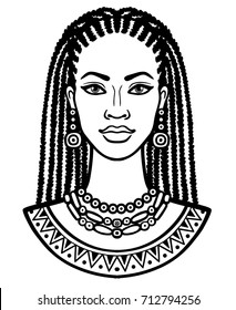 Animation portrait of the young African woman. Monochrome linear drawing. Vector illustration isolated on a white background. Print, poster, t-shirt, card.