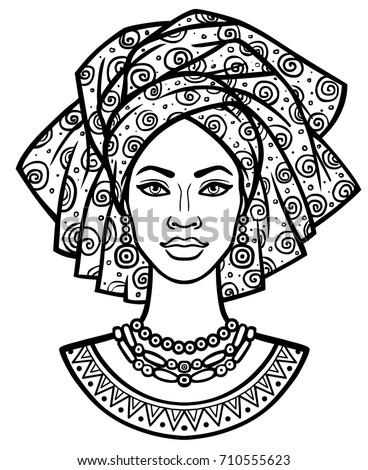 Animation Portrait Young African Woman Turban Stock Vektorgrafik