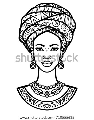 Animation portrait young african woman turban stock vector - Dessin femme africaine coloriage ...