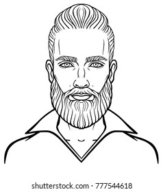 Animation portrait of the young attractive bearded man with a stylish hairstyle. Linear drawing. Vector illustration isolated on a white background.