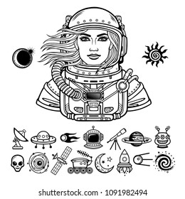 Animation portrait of the young attractive woman astronaut in a Open space suit. Set of icons. Vector illustration isolated on a white background. Monochrome drawing. Print, poster, t-shirt, card.