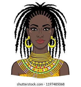 Animation portrait of the young beautiful African woman. Color drawing. Vector illustration isolated on a white background. Print, poster, t-shirt, card.