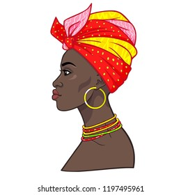 Animation portrait of the young beautiful African woman in a turban. Profile view. Color drawing. Vector illustration isolated on a white background. Print, poster, t-shirt, card.