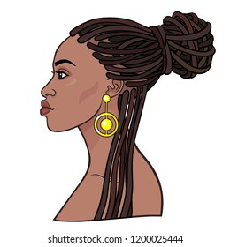 Animation portrait of the young beautiful African woman  in a dreadlocks. Profile view. Color drawing. Vector illustration isolated on a white background. Print, poster, t-shirt, card.