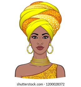 Animation portrait of the young beautiful African woman in a turban. Color drawing. Vector illustration isolated on a white background. Print, poster, t-shirt, card.