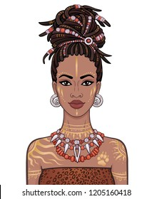 Animation portrait of the young beautiful African woman  in a dreadlocks. Color drawing. Vector illustration isolated on a white background. Print, poster, t-shirt, card.